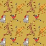 Картина с котами, собаками, цыплятами и цветками Стоковое Изображение RF