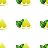 Картина с кусками лимона и мяты Стоковые Фотографии RF