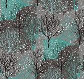 Картина с лесом зимы, абстрактная текстура вектора безшовная иллюстрация штока