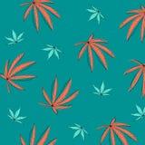 Картина с листьями пеньки марихуаны иллюстрация штока