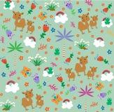 Картина с милыми верблюдами и маленьким froggi Тип шаржа также вектор иллюстрации притяжки corel бесплатная иллюстрация