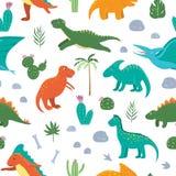 Картина с милыми динозаврами с пальмами, кактус вектора безшовная, камни, следы ноги, косточки для детей Мультфильм Dino плоский иллюстрация вектора