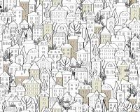 Картина с нарисованными рукой домами doodle Иллюстрация с милыми крышами и деревьями городка Безшовная предпосылка в черно-белом  иллюстрация вектора