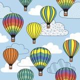 Картина с облаками и воздушными шарами Стоковая Фотография RF