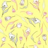 Картина с пастельными callas, тюльпанами и листьями иллюстрация штока
