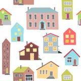 Картина с различными домами Стоковое Изображение