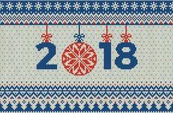 Картина с Рождеством Христовым и Нового Года безшовная связанная с шариками, снежинками и елью рождества Скандинавский тип Стоковая Фотография