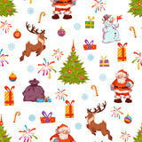 Картина с Сантой, сосна рождества безшовная, олень Стоковое Фото
