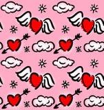 Картина с сердцами и облаками Стоковые Фото