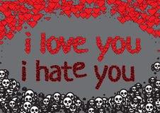 Картина с сердцами и черепами на сером цвете Стоковое Изображение RF