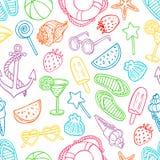 Картина с символами лета Стоковые Изображения