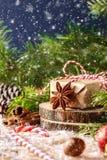 Картина с снежинками, ель рождества разветвляет, подарок рождества Стоковая Фотография