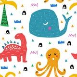 Картина с тропическими дикими животными малыш чертежа характера ребёнка изолированный иллюстрацией Абстрактное ребяческое искусст иллюстрация штока