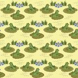 Картина с лягушками и лилиями воды Стоковая Фотография
