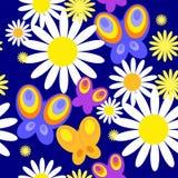 Картина с яркими бабочками и маргаритками иллюстрация вектора