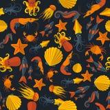 Картина темных морепродуктов безшовная Стоковые Фото