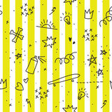 Картина темы подростка безшовная с желтыми нашивками Стоковые Фотографии RF