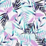 Картина тенденции безшовная с яркими тропическими листьями и заводами на светлой предпосылке o Печать Jung r стоковое фото