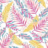 Картина тенденции лета безшовная с яркими тропическими листьями и заводами на светлой предпосылке o Печать Jung r стоковые изображения