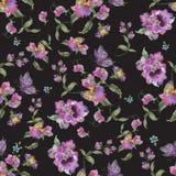 Картина тенденции вышивки флористическая безшовная с pansies и забывает Стоковые Изображения