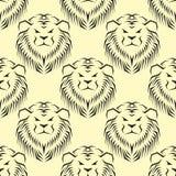 Картина тигра головная королевская безшовная с красивой животной иллюстрацией стороны льва вектора нарисованной рукой Стоковые Изображения RF