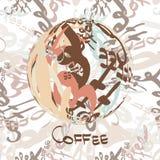 Картина ткани безшовная кофе слова обозначает сферу Стоковое Изображение