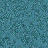 Картина ткани голубая с декоративными листьями также вектор иллюстрации притяжки corel Стоковое Изображение RF