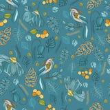 Картина ткани декоративная безшовная с птицами, листьями, цветками a Стоковое Изображение