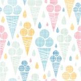 Картина ткани конусов мороженого красочная безшовная Стоковое Изображение