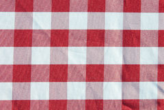 Картина ткани таблицы красная checkered Стоковое Изображение