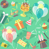 Картина торжества вечеринки по случаю дня рождения безшовная Стоковое Изображение