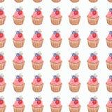 Картина торта чашки акварели руки, чертеж акварели, изолированный o иллюстрация вектора
