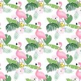 Картина тропических джунглей безшовная с птицей фламинго, листьями ладони и магнолией или цветками лотоса Плоский дизайн, вектор иллюстрация вектора