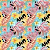 Картина тропических листьев акварели безшовная Рука покрасила лист ладони, экзотические цветки plumeria и листву иллюстрация штока