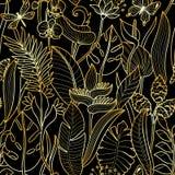 Картина тропического золота безшовная Стоковая Фотография