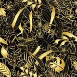 Картина тропического золота безшовная Стоковое фото RF