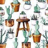 Картина тропического сада пустыни кактуса акварели безшовная Картина кактуса Watercolour бесплатная иллюстрация