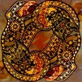 Картина украшения пестрая животная, флористические части, тропический кот Стоковые Изображения