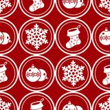 картина украшения рождества безшовная Круглые символы рождества Стоковое Изображение RF