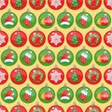 картина украшения рождества безшовная Круглые символы рождества Стоковая Фотография RF