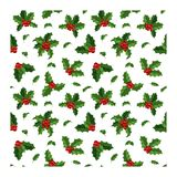 Картина украшения ягоды рождества безшовная Стоковые Фотографии RF