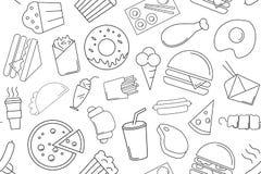 Картина фаст-фуда вектора быстро-приготовленное питание предпосылки безшовное бесплатная иллюстрация