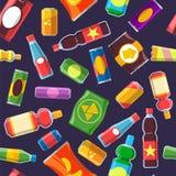 Картина фаст-фуда закусок Десерта конфеты шутихи бутылки содовой конфеты воды пластмасса питья печенья бара обломока ffod холодно иллюстрация штока