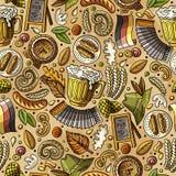 Картина фестиваля пива шаржа милой нарисованная рукой безшовная иллюстрация штока