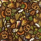 Картина фестиваля пива шаржа милой нарисованная рукой безшовная иллюстрация вектора