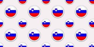 Картина флага круга Словении безшовная Словенская предпосылка Значки круга вектора Геометрические символы Текстура для спорт бесплатная иллюстрация