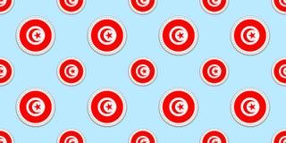 Картина флага круга Туниса безшовная Тунисская предпосылка Значки круга вектора Геометрические символы Текстура для перемещения иллюстрация вектора