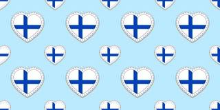 Картина флага Финляндии безшовная Ребро вектора сигнализирует стикеры Символы сердец влюбленности Текстура для финских языковых к иллюстрация штока