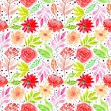Картина флористических красивых цветков акварели безшовная иллюстрация вектора