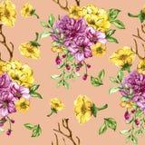 Картина флористического букета пинка и желтого цвета безшовная Стоковая Фотография